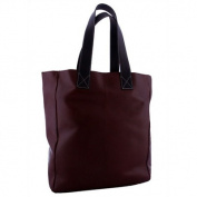 Leather Shopping Tote in Dark Brown