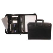 Bond Street, Ltd. Zippered Tablet/Apple iPad Organiser with Removable Binder, Black Leather