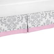 Pink and Grey Elizabeth Cotton Toddler Bed Skirt