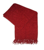 Jovi Home Grace Chenille Hand Woven Throw 130cm -by-150cm , Berry
