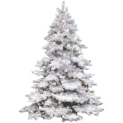 Vickerman Co. Flocked Alaskan 1.2m 1.2m White Artificial Christmas Tree with 300 Clear Lights with Stand