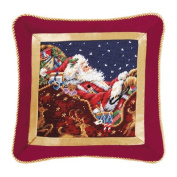 Santa with Sleigh Needlepoint Pillow