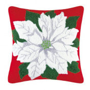 Poinsettia Hooked Pillow