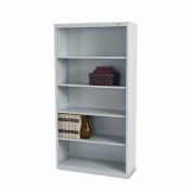 Metal Bookcase, 5 Shelves, 34-1/2w x 13-1/2d x 66h, Light Grey