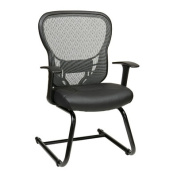 Space Seating Deluxe R2 SpaceGrid Back Visitors Chair with Fixed Arms and Moulded Foam Eco Leather Seat, Nylon Metal Sled Base, Black