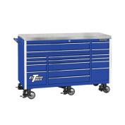 180cm 17 Drawer Triple Bank Professional Roller Cabinet in Blue