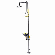 Safe-T-Zone Floor Mount Traditional Combination Shower with Stainless Steel Bowl, Ball Valve and Pull Rod