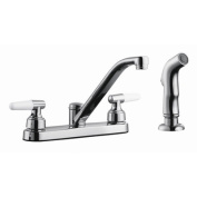 Aberdeen Double Handle Low Arch Kitchen Faucet with Sprayer