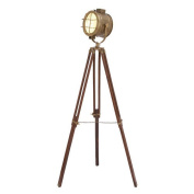 Spotlight Brass Colour Lamp Retro Tripod Black Base Lighting Decor 46666