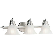 Three Light Vanity Light with Satin Etched Glass in Brushed Nickel