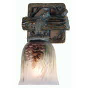 Meyda Tiffany Northwoods Pinecone Hand Painted 1 Light Wall Sconce