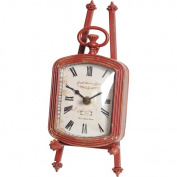 Wilco Red Rectangular Clock on Easel, Red and Creme