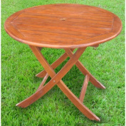 Acacia Patio 100cm Round Folding Dining Table