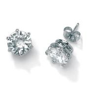 Cubic Zirconia Platinum / Sterling Silver Earrings