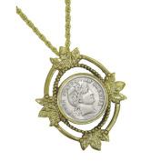 Goldtone Open Oval Leaf Barber Dime Coin Pendant