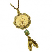 Sacagawea Brass and Turquoise Pendant