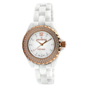 Women's. Crystal Dial Watch in White with Gold Tone Hands