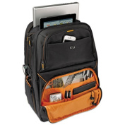 "Urban 17.3"" Backpack, 11 3/4 x 8 x 17 1/2, Black/Orange Accents"