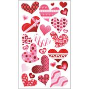 Sticko 458121 Sticko Glitter Valentine Stickers-Funky Hearts