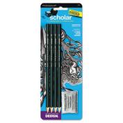 Scholar Graphite Pencil Set, 4B, 2B, HB, 2H Pencils, Kneaded Eraser