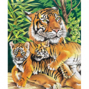 Coloured Pencil By Numbers Intermediate Medium Tiger and Cubs Coloured Pencil