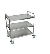 Luxor ST-3 Stainless-Steel 3-Shelf Kitchen Cart, 90cm H x 90cm W x 50cm D, Silver