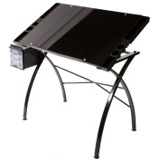 Martin Dezign Line Drawing Table W/Black Glass Top-Black