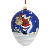Checking It Twice Egg Blown Glass Ornament