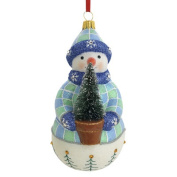 Snowman with Tree Blown Glass Ornament
