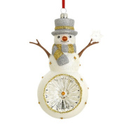 Snowman with Snowflake Reflector Blown Glass Ornament