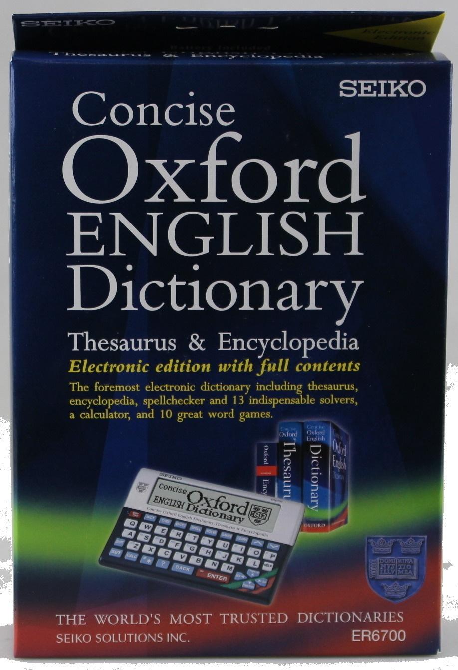 Seiko- Er6700 Concise Oxford Dictionary/ Thesaurus/ Encyclopaedia
