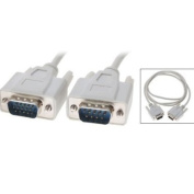 . 1.2M VGA HD15 Male To RS232 DB9 Pin Male Adapter Cable / Video Graphic Extension Cable -White