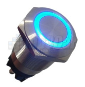 Silver Metal Stainless Steel Blue LED Illuminated Momentary Pushbutton Switch 22mm