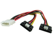 15cm 4pin Molex to Dual SATA 15pin with Metal Latch