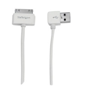 StarTech.com 1m (3 ft) Apple® 30-pin Dock Connector to Left Angle USB Cable for iPhone iPod iPad with Stepped Connector - Charge and Sync