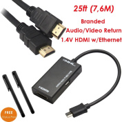 YarMonth-Micro USB to HDMI MHL Adapter for HTC EVO 3D, HTC EVO 4G, Galaxy S2, Sprint Epic 4G Touch, Sony Ericsson Xperia Arc X12 + 7.6m 1.4V Gold-plated HDMI cable w/Ethernet,3D,Full 1080P+ Free 2pcs Stylus Pen