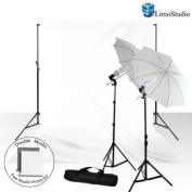 Limostudio New Photo Video Studio Umbrella Continuous Photography Lighting Light Kit Set- Lighting Stand, 3m x 3m White Photo Backdrap Background Double Muslin, Carrying Case_AGG714