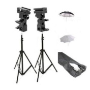 ePhoto UB4 Double Off Camera Flash Kit with Carrying Bag with 2 each of 2.1m Stands with Brackets, 80cm Reflector Umbrellas and 80cm White Umbrellas