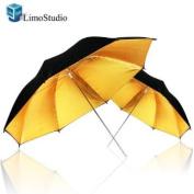 LimoStudio 2Pcs Photography Studio Double Layer Black & Gold Photo Umbrella Soft Light Box Reflector Photography, AGG790