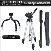 Tripod Kit Includes 50 Pro Tripod + Flexible Gripster + 67 Monopod For The Sony HDR-CX550V, XR550V HD Handycam Camcorder