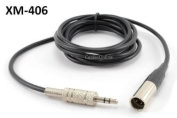 CablesOnline 1.8m Mini-XLR Male to 3.5mm Stereo Male Plug Pro Lapel Mic Cable,