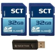 SCT 64GB (32GB x2) SD HC Memory Card, Class 10 with SoCal Trade (tm) MicroSD HC XC & SD HC XC Dual Slot Card Reader