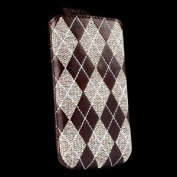 Sena 158269 Argyle Leather Pouch for iPhone 4 & 4S - Holster - Retail Packaging - Brown/Beige