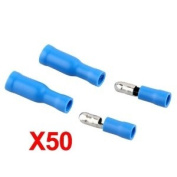 50 X Blue Male Female Bullet Connector Crimp Terminals Wiring