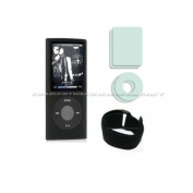 Premium iPod Nano 4G 4th Generation Silicone Sleeve Case - Black + Screen & Click Wheel Protective Film + Adjustable Sport Armband - Black