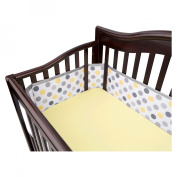 Breathable Mesh Crib Liner by BreathableBaby - Grey and Yellow Dot