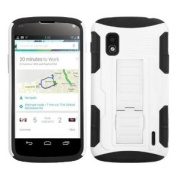 MyBat ALGE960HPCSAAS902NP Advanced Rugged Armour Hybrid Combo Case with Kickstand for LG Nexus 4 E960 - Retail Packaging - White/Black Car