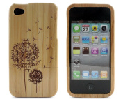 Dandelion Retro Natural Real Bamboo Wood Wooden Hard Case Cover for iPhone 4 4G 4S