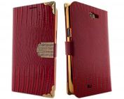 Red Luxury Lizard Pattern Glitter Bling Rhinestone Book Folio PU Leather Case Cover with Credit Card Slot for Samsung Galaxy Note II 2 N7100