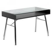 Brettford Desk with Tempered Glass Top Writing Desk - Black/Chrome
